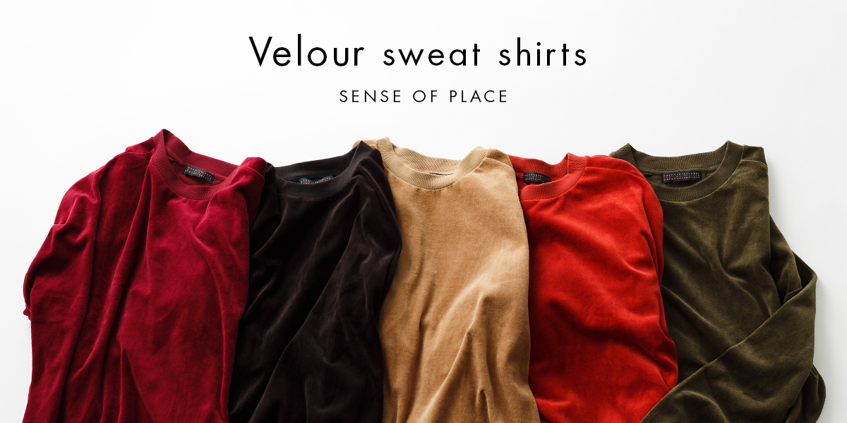 SENSE OF PLACE Velour sweat shirts