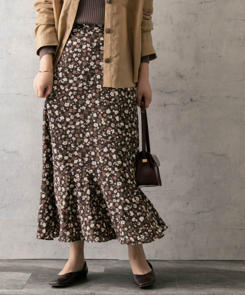 [ROSSO][autumn flower print skirt]