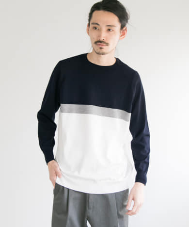 14G Plain Crew-Neck Knit