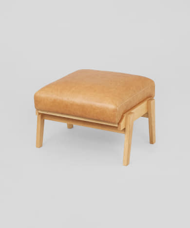 Bothy Leather Ottoman オーク無垢材