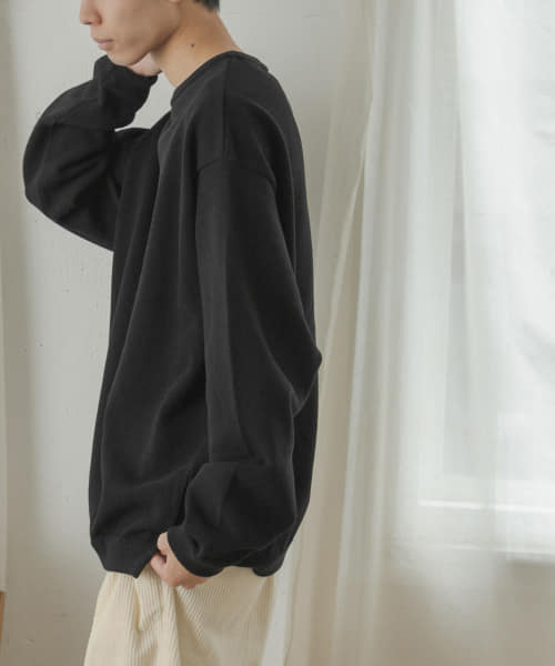 [FORK&SPOON][crepuscule Moss stitch crew slit]