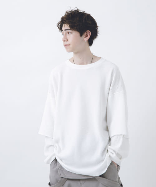 [URBAN RESEARCH][URBAN RESEARCH iD レイヤードワッフルカットソー]