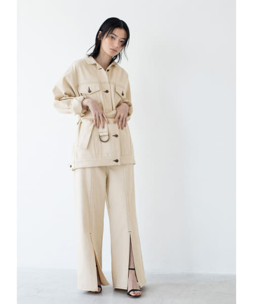 [LAATO][FRONT LONG SLIT PANTS]