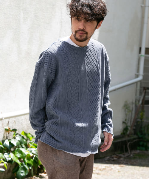 [Sonny Label][CAL O LINE CABLE JACQUARD CREW]