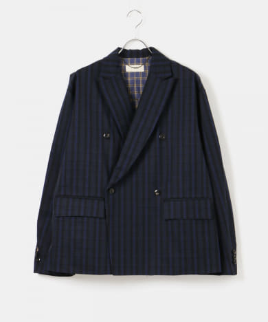 JieDa BLACK CHECK TAILORED JACKET