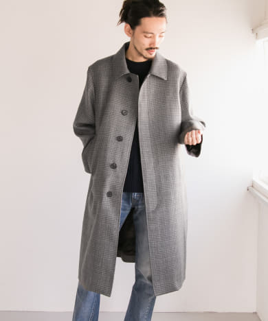 LENO STAND FALL COLLAR COAT