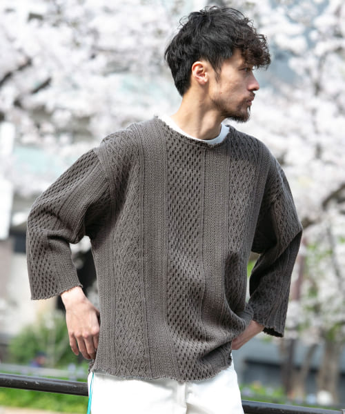 [Sonny Label][CAL O LINE 別注8分袖CABLE JQ CUT-OFF]