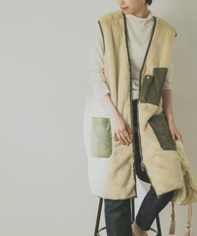 【別注】EARIH×URBAN RESEARCH ECO FUR VEST