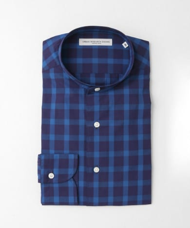 LIFE STYLE TAILOR CHECK NO COLLAR SHIRTS