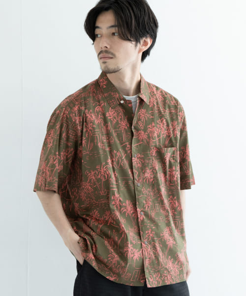 [URBAN RESEARCH][MANUAL ALPHABET PRINT OPEN COLLAR SHIRTS]
