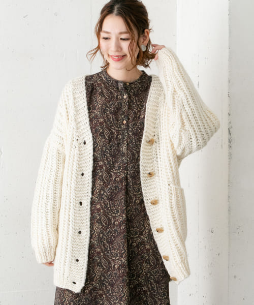 [ROSSO][HAND KNIT CARDIGAN]