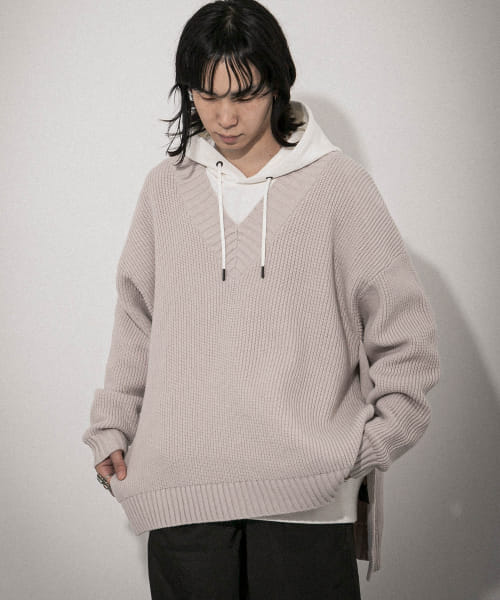 [URBAN RESEARCH][URBAN RESEARCH iD SIDE SLIT V-NECK KNIT]