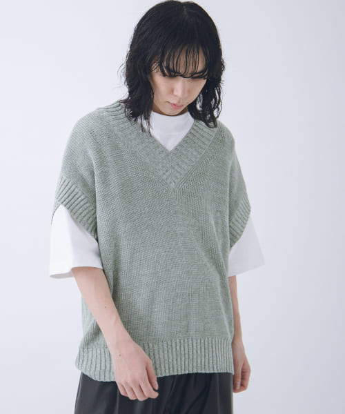 [URBAN RESEARCH][URBAN RESEARCH iD OVERSIZED MIXED KNIT VEST]