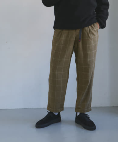 Gramicci WOOLBLEND TUCK TAPERED PANTS