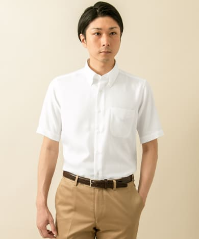 LIFE STYLE TAILOR BUTTONDOWN 半袖 ヘリンボン