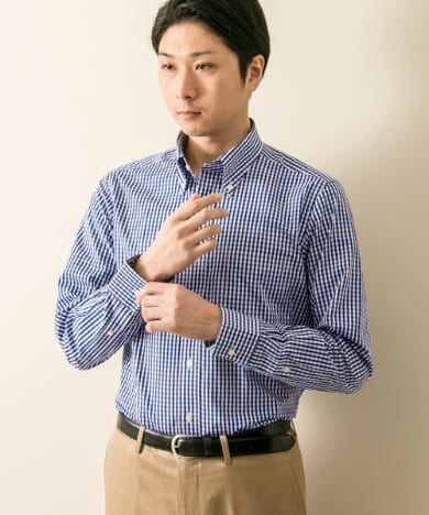 LIFE STYLE TAILOR BUTTONDOWN ギンガムチェック