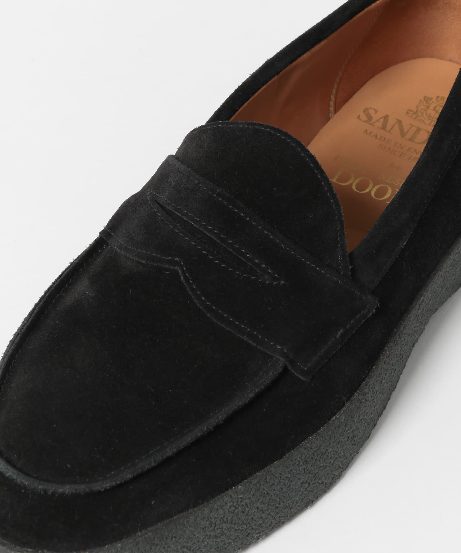 Urban Research Doors Mud Guard Butt Seam Loafer 2109-DM96: Black Suede