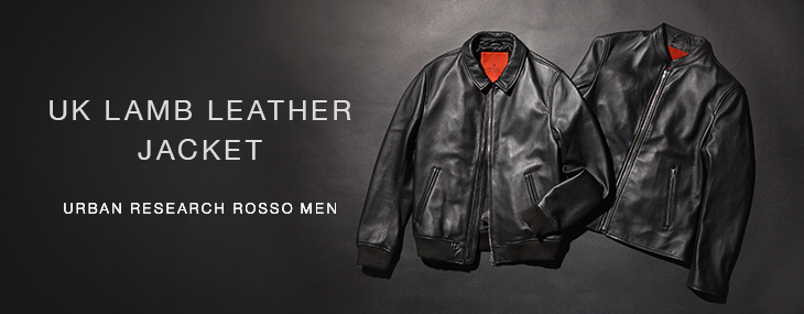 URBAN RESEARCH ROSSO MEN UK LAMB LEATHER JACKET