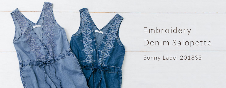 Sonny Label 2018SS Embroidery Denim Salopette